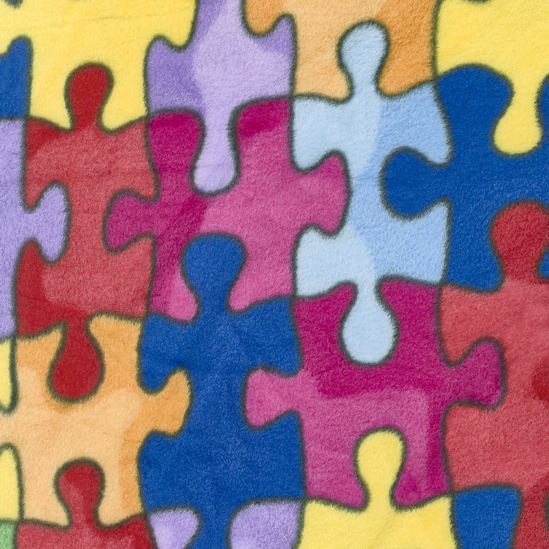 Winterfleece Prints Children - Jigsaw Puzzle Multi Fleece Yardage