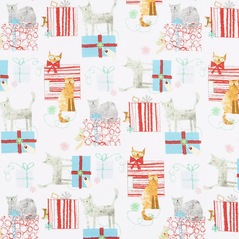 Make Merry - Gift Wrapped Cats White Yardage