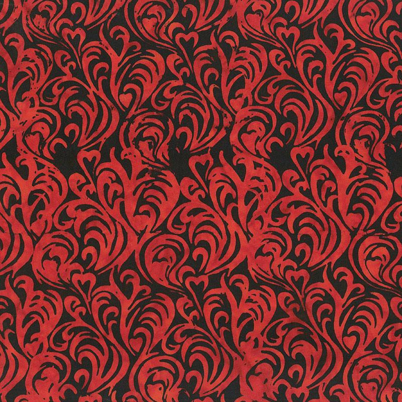 Heart to Heart Batiks - Flaming Hearts Black Yardage