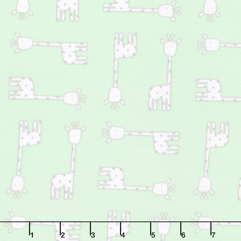 Penned Pals Flannel - Mint Colorstory Giraffes Mint Yardage