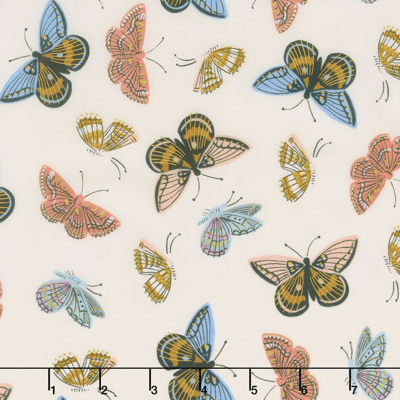 English Garden - Monarch Cream Cotton Lawn Metallic Yardage