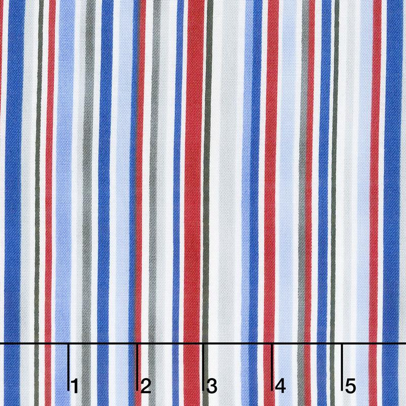 All Star Hockey - Barcode Stripe White Multi Yardage