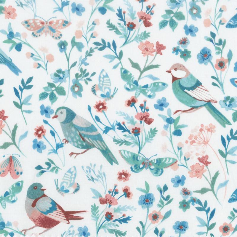 Birdsong - Birds of a Feather White Yardage