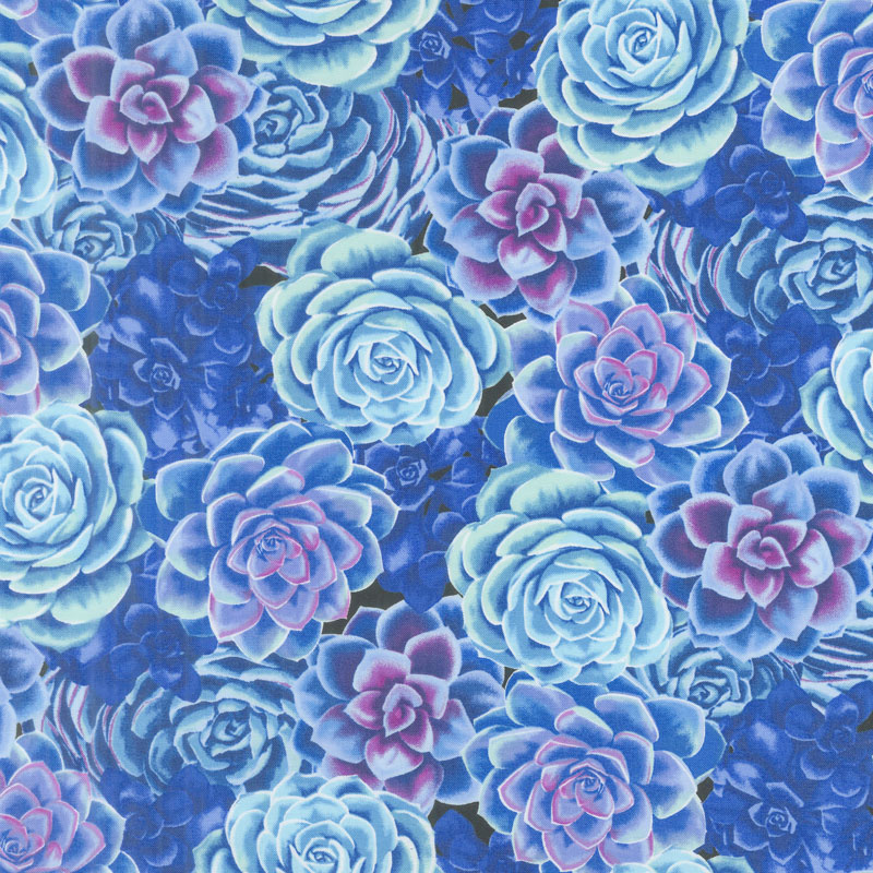 Viva Terra - Succulent Cobalt Blue Yardage