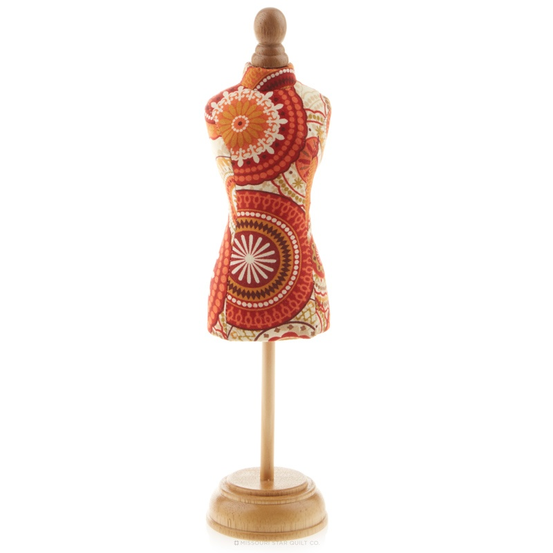 Dressform Pin Cushion with Wood Stand - Red/Orange