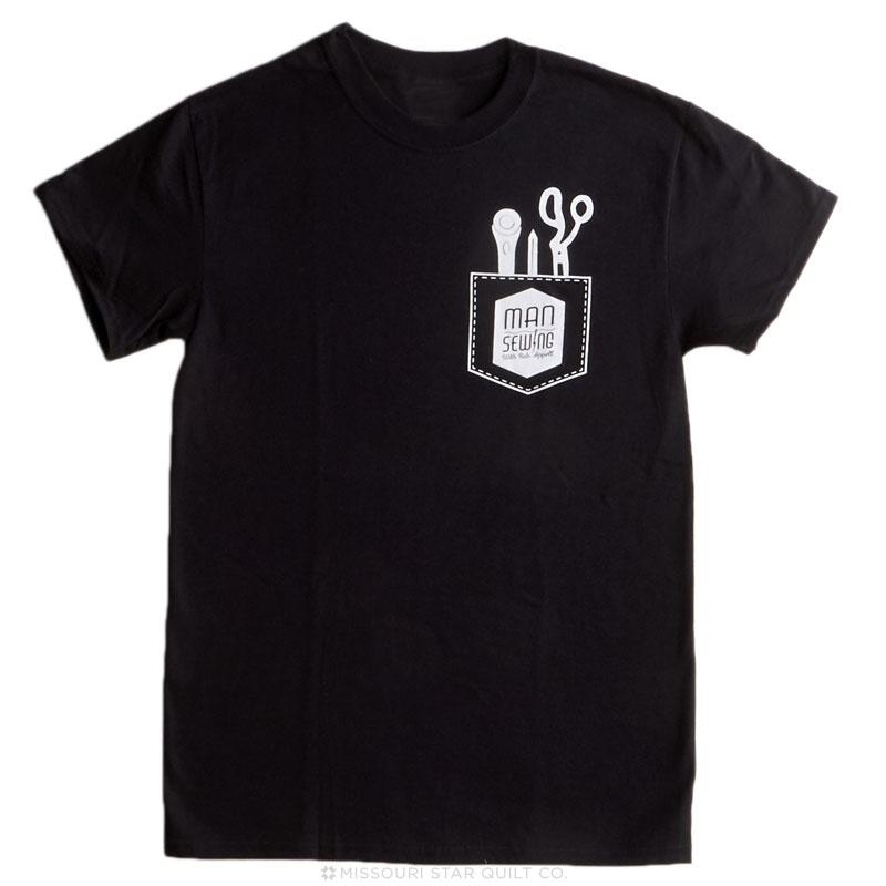 Man Sewing Pocket Tools Black T-Shirt - Large