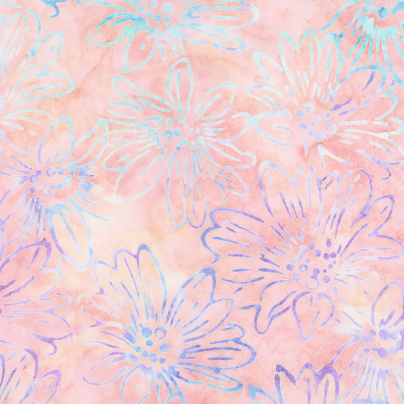 Artisan Batiks - Bright Blooms Flowers Melon Yardage