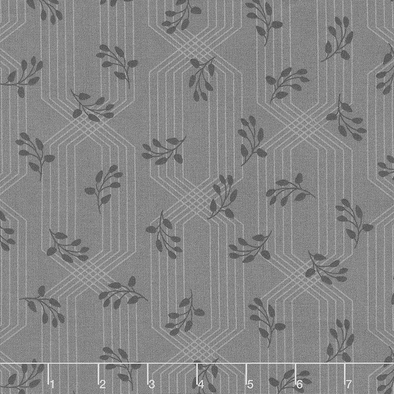 Colette - Lattice Leaves Charcoal Yardage