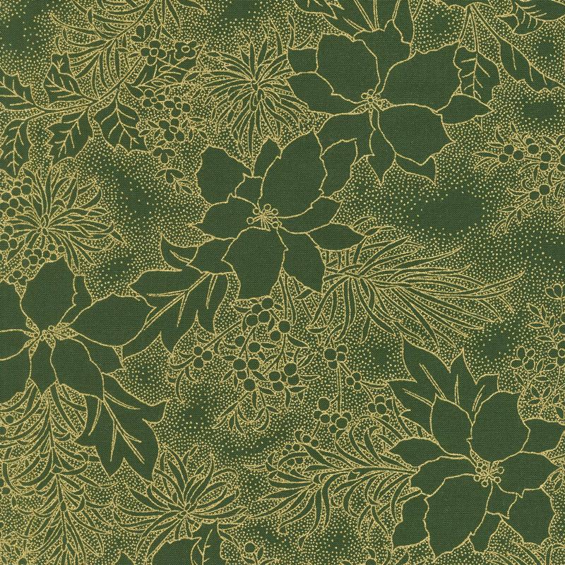 Gilded Greenery - Poinsettia Toile Evergreen Metallic Yardage