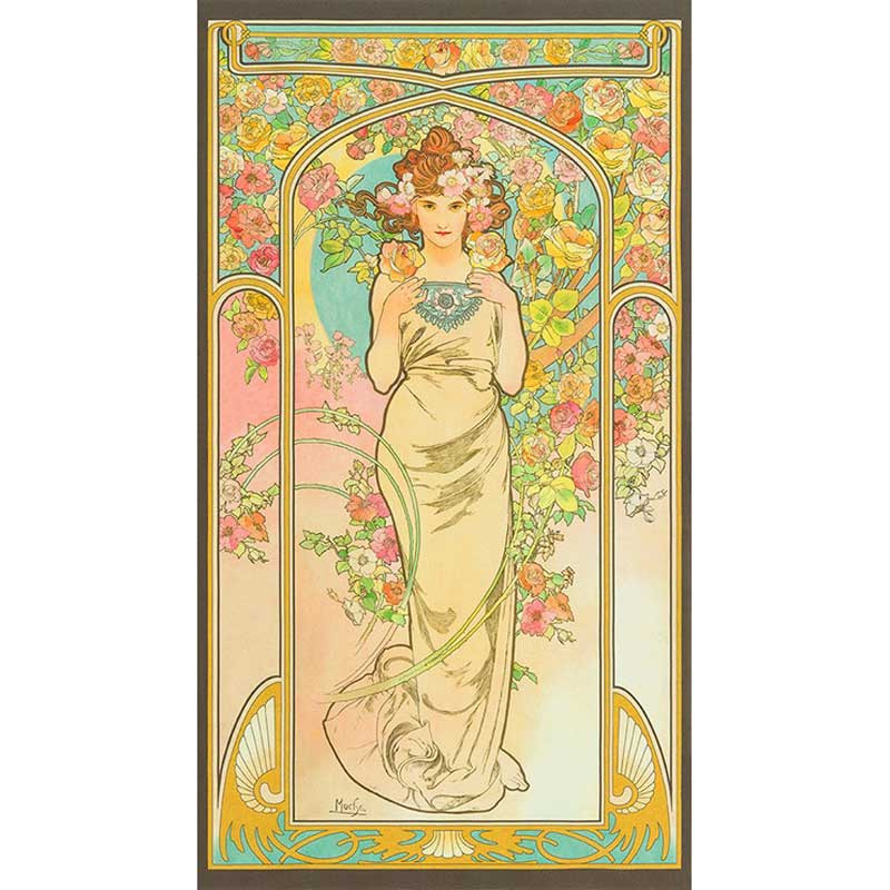 Alphonse Mucha - Lady Garden Digitally Printed Panel