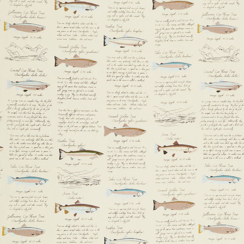 Gone Camping - Trout Paper Cream Yardage