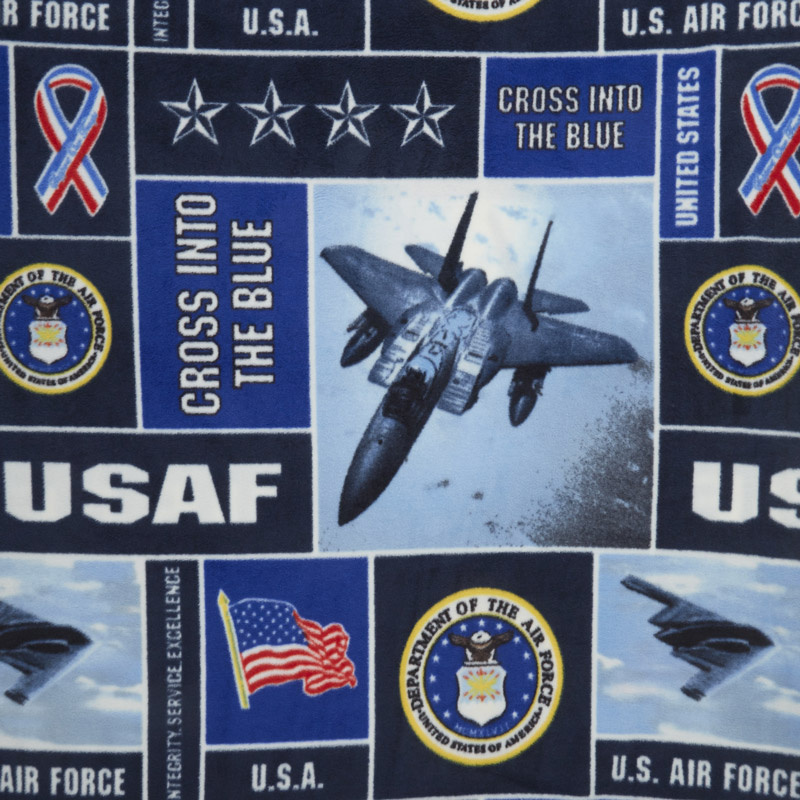 Military - Air Force Collage Navy Fleece Yardage