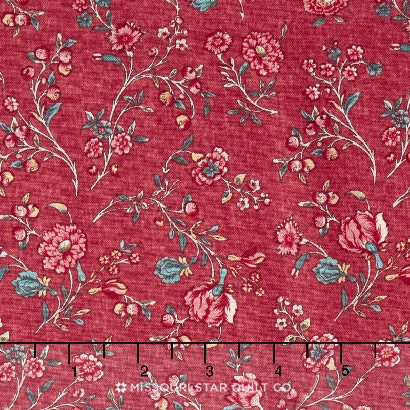 Hamilton - From Eliza Hamilton's Era c. 1770-1790 Vine Floral Red Yardage