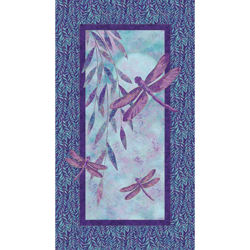 Shimmer Dragonfly Moon - Royal Garden Dragonfly Panel