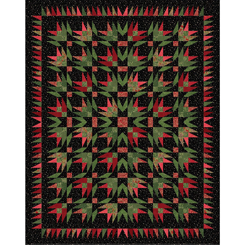 Glad Tidings~Red Poinsettia on Black Christmas Cotton Fabric by Maywood Studio
