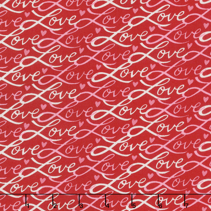 Love Grows - Love Script Romantic Red Yardage