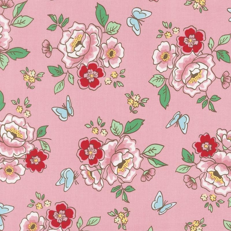 mon beau jardin main pink yardage nadra ridgeway of ellis higgs penny rose designs. Black Bedroom Furniture Sets. Home Design Ideas