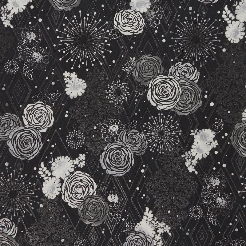 Shiny Objects - Precious Metals Adornment Radiant Platinum with Black Glitter Yardage