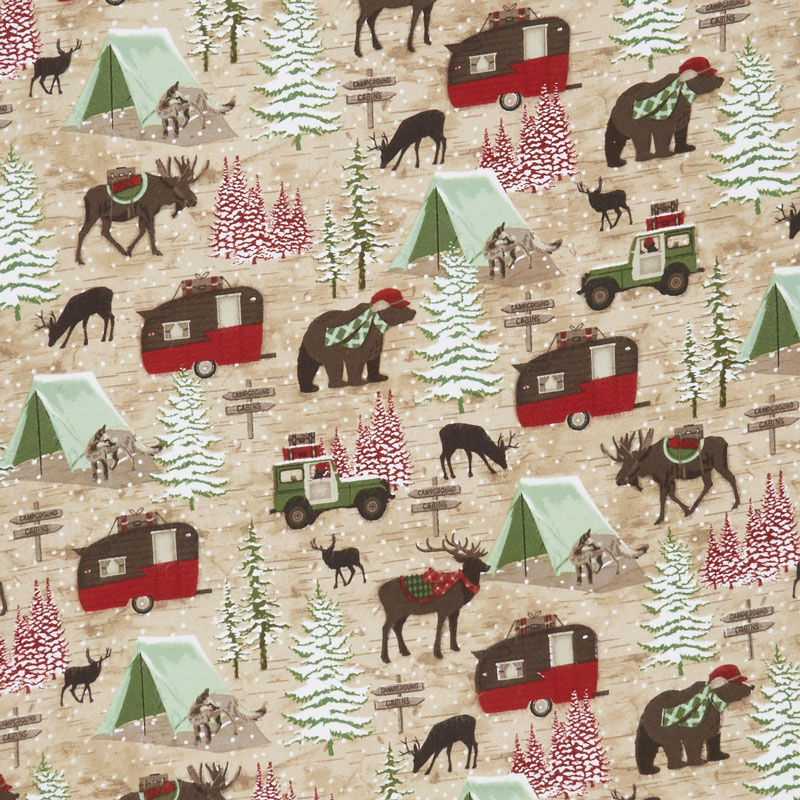 Woodland Haven - Animal Camping Motifs Brown Flannel Yardage