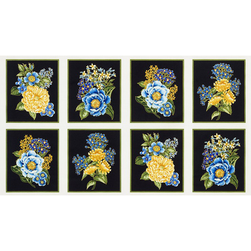 Avery Hill - Blue Bouquet Blue Metallic Panel