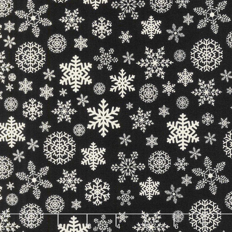 Christmas Delivery - Snowflakes Black Yardage