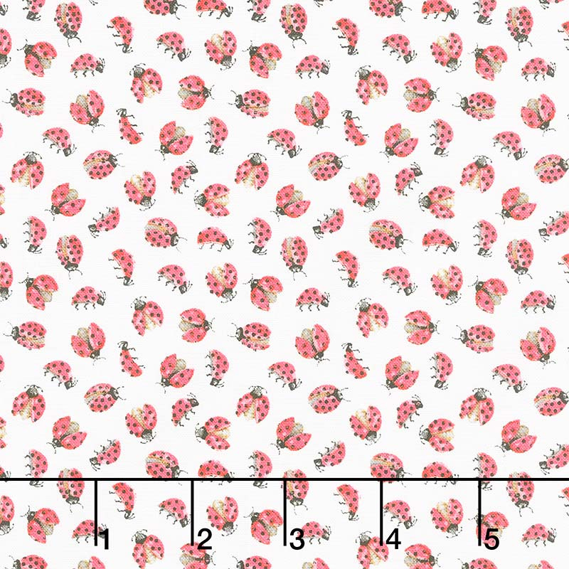 Love Letters - Lady Bugs White Yardage