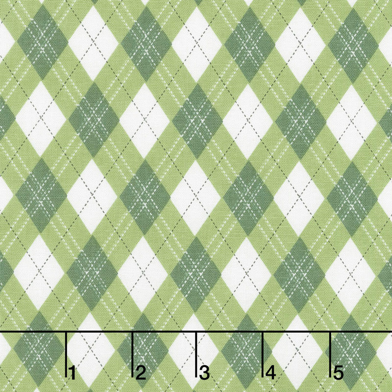 Rustique Winter - Gift Wrap Green Yardage