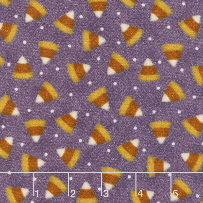 Happy Jacks & Friends - Candy Corn Purple Flannel Yardage