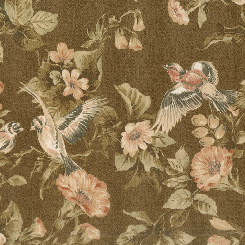 Collection for a Cause - Heritage 10th Anniversary Birds & Flowers Dark Brown Yardage
