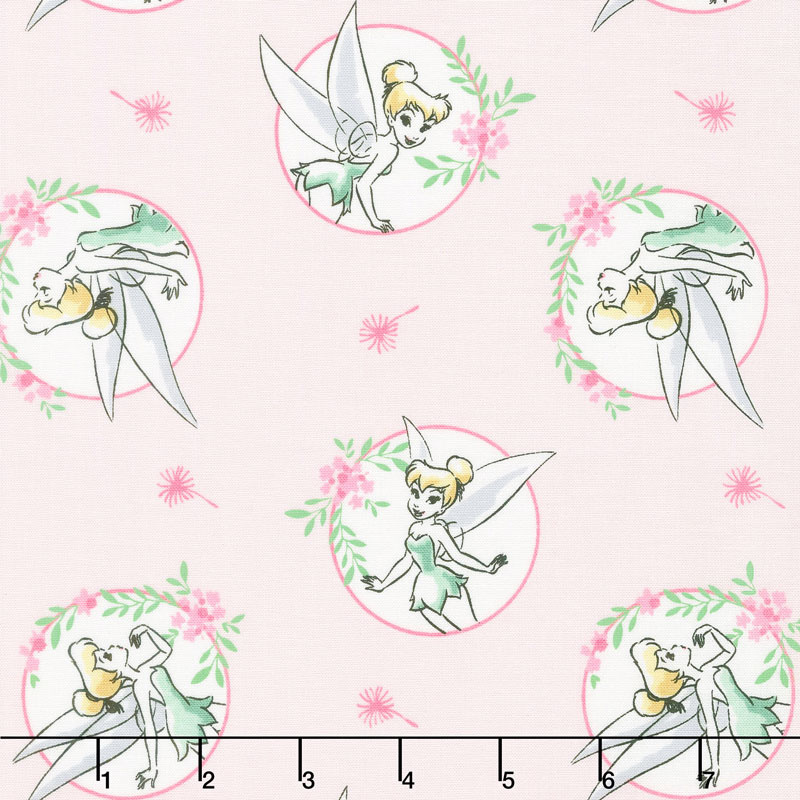 Tinkerbell - Floral Frame Light Pink Yardage - Camelot Design Studio ...