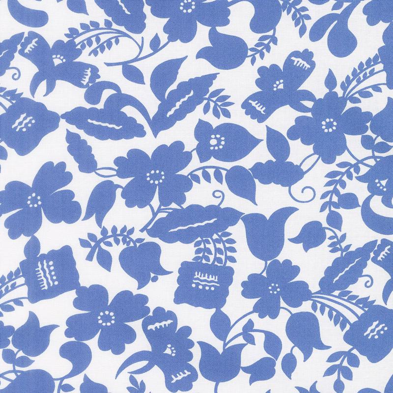 Feed Sacks: Red Rover - Ruby Botanica True Blue Yardage