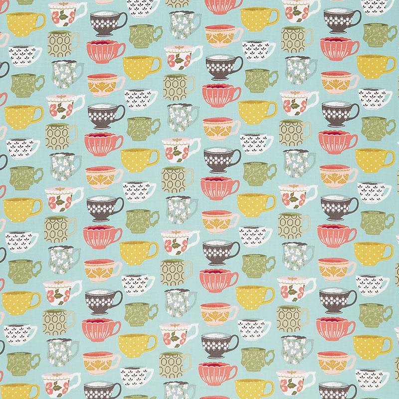 Tea with Bea - Tea Cups Time Sky Yardage