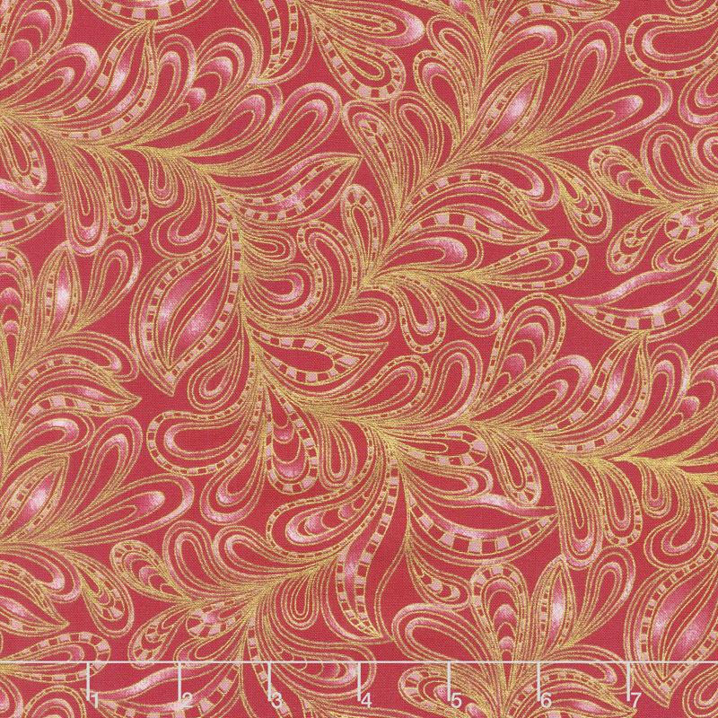 Cat-i-tude 2 - Featherly Paisley Red Metallic Yardage