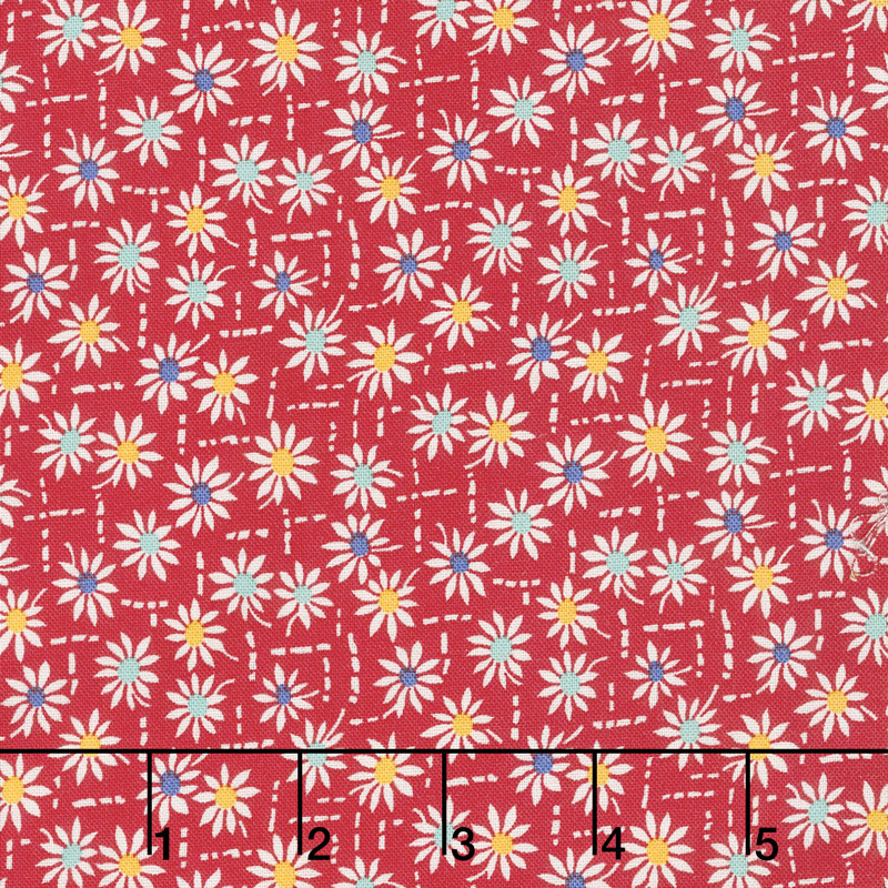 Aunt Grace's Flower Pots - Daisies Red Yardage