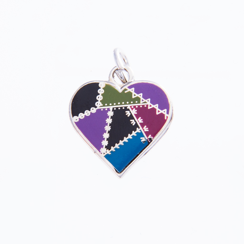 Patched Heart Charm Dark by Pin Peddlers