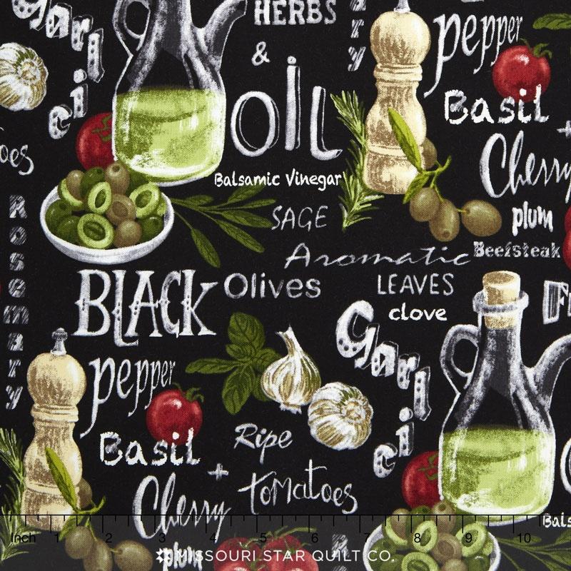 Farmer John's Garden Party - Vegetable Mix Black Yardage