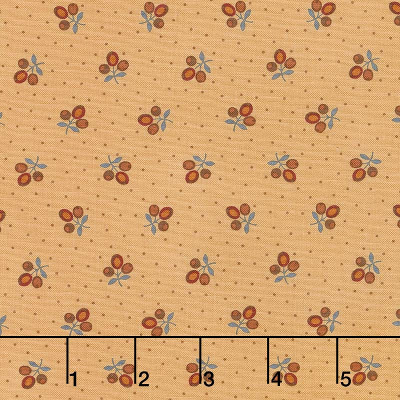 Lancaster - Tri-Flower Soft Gold Yardage