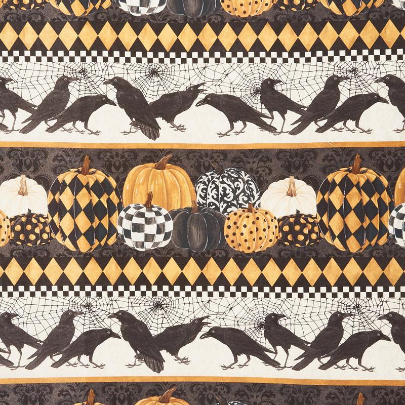 Raven's Claw - Horizontal Birds and Prints Black Digitally Printed Yardage
