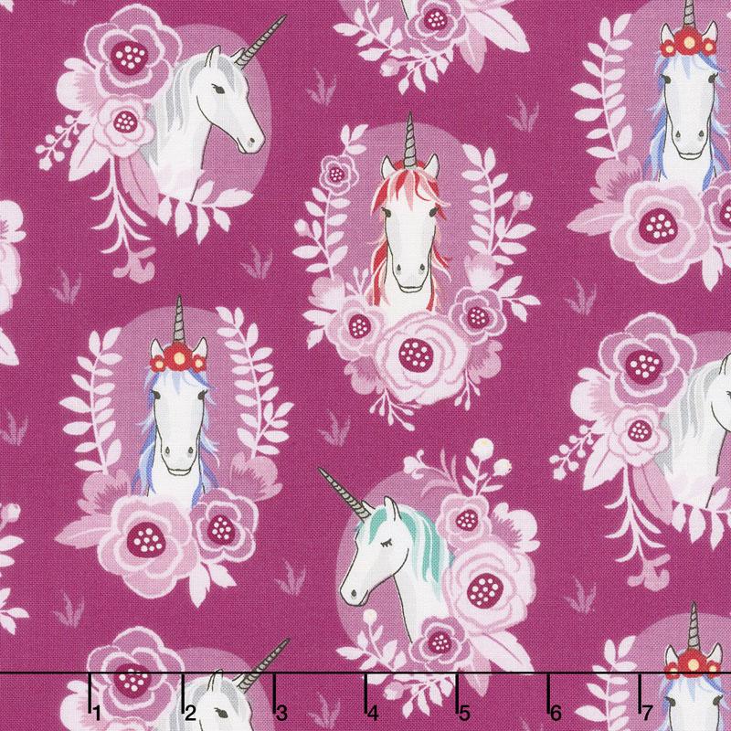 My Unicorn - Portrait Dark Pink Yardage