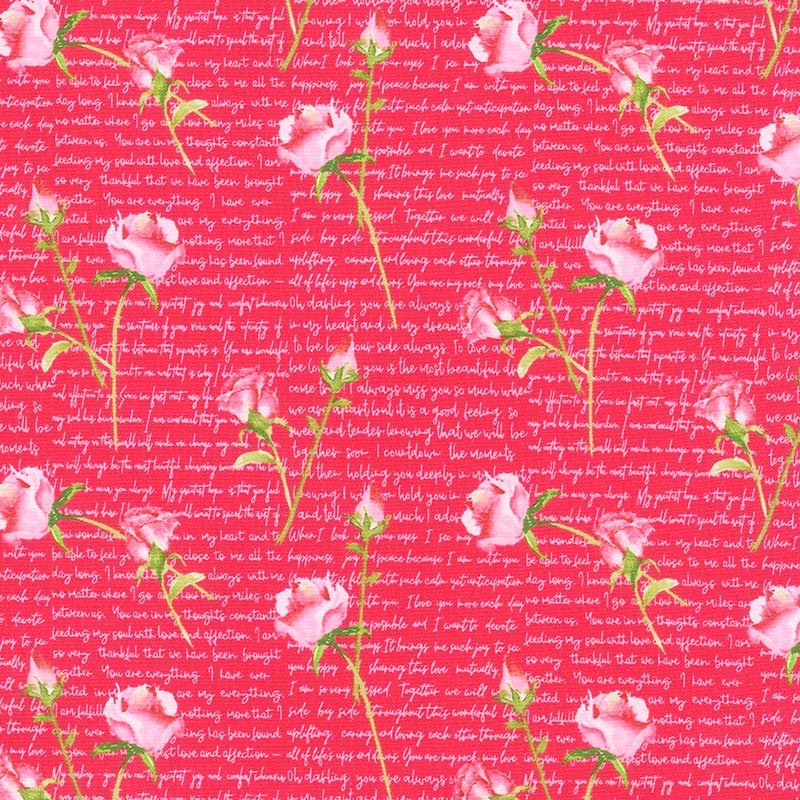 Love Letters - Words and Roses Red Yardage | Barbara Tourtillotte | Henry  Glass