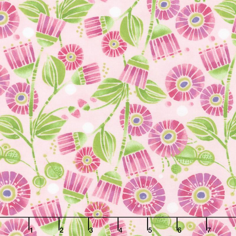 Sweet Pea & Lily - Aster Flowers Primrose Yardage