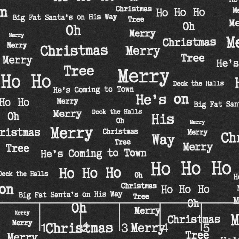 around town christmas words black yardage
