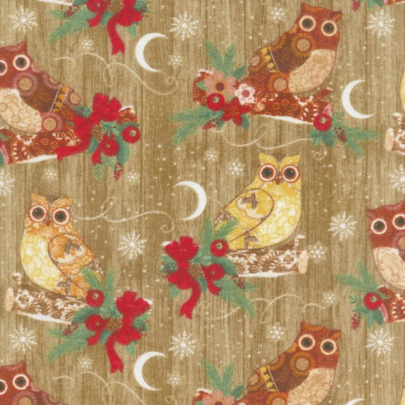 Christmas Novelties - Owls Coffee Flannel Yardage