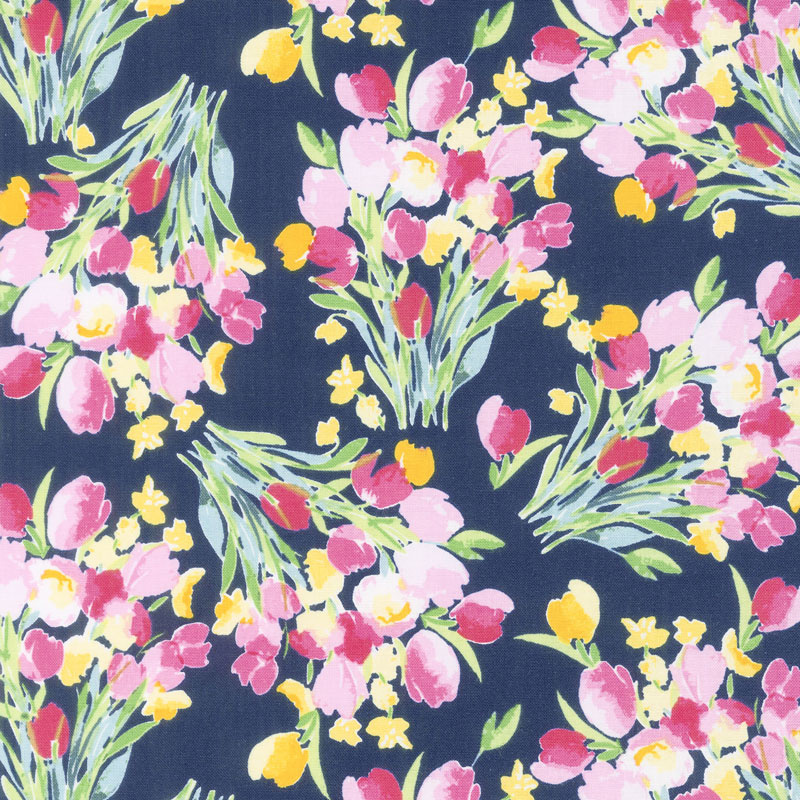 Fruitful Pleasures - Main Navy Yardage