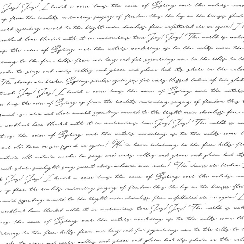 Botanica - Script White Black Yardage