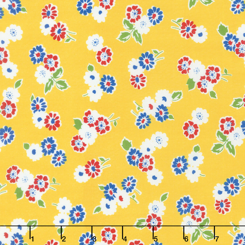 Sugar Sack - Tossed Floral Yellow Yardage
