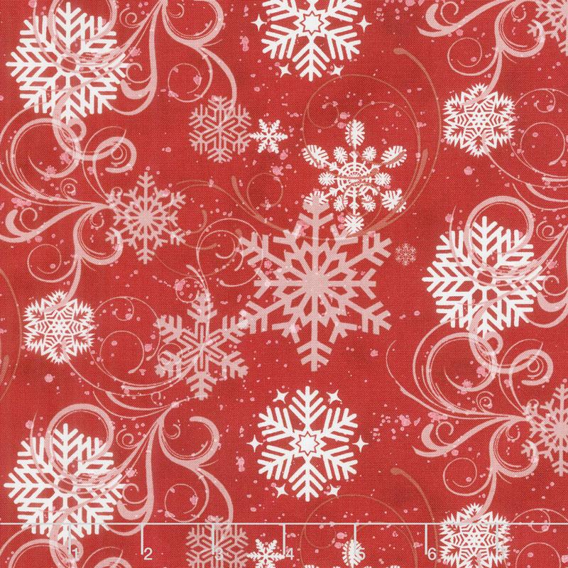 Snow Days - Swirling Snowflakes Red Yardage