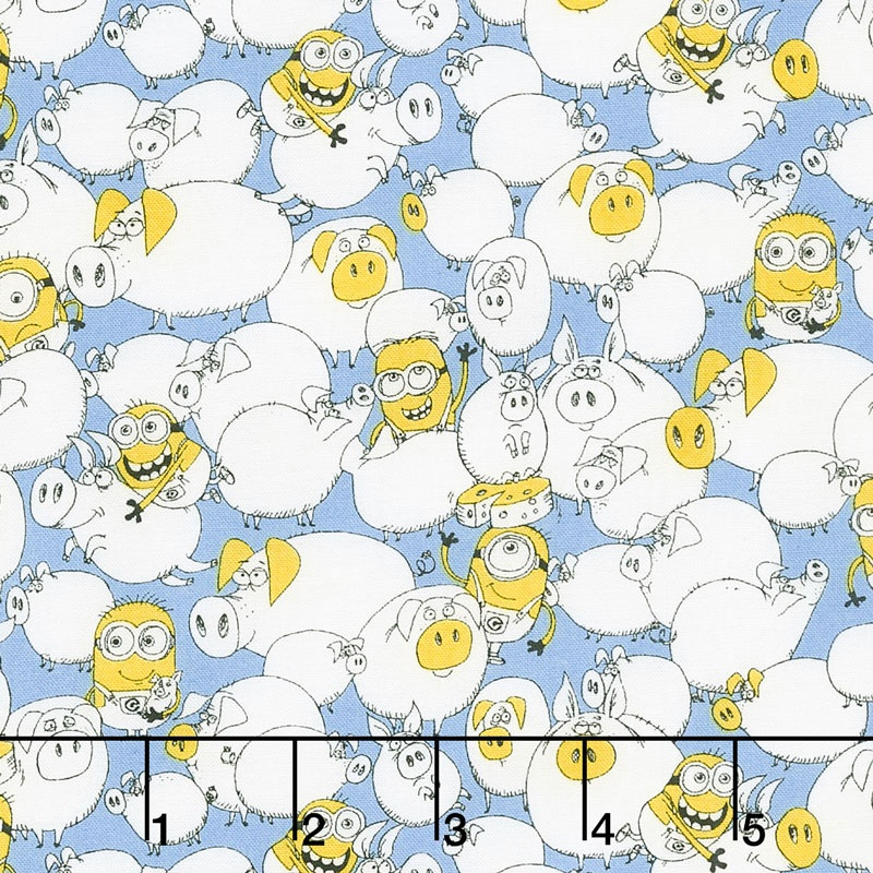 Best Family Ever Minions BTY Quilting Treasures Minions Pigs on Blue