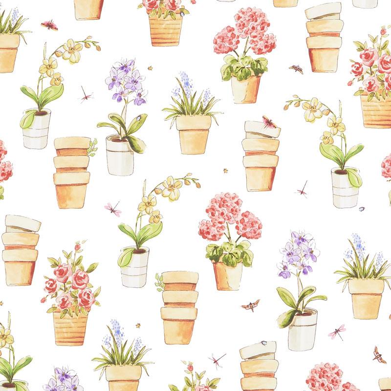 Greenhouse - Potted Flowers White Yardage - Whistler Studios - Windham Fabrics  sc 1 st  Missouri Star Quilt Company & Greenhouse - Potted Flowers White Yardage - Whistler Studios ...