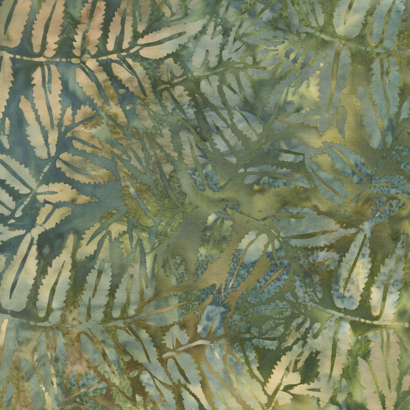 Sand Bar Batiks - Fern Leaves Jungle Water Yardage